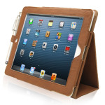 TheSnugg brown leather iPad flip case